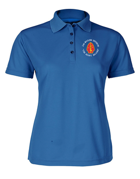"2nd Marine Division ""Silent Second""-C-   Ladies Embroidered Moisture Wick Polo Shirt"