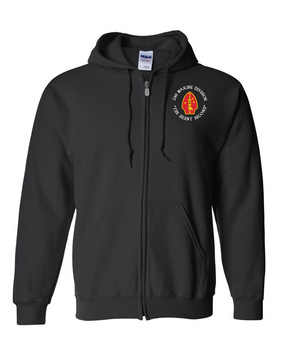 "2nd Marine Division ""Silent Second""-C- Embroidered Hooded Sweatshirt with Zipper"