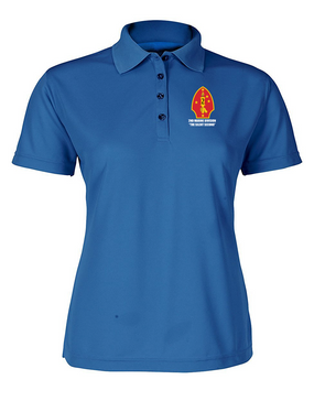 "2nd Marine Division ""Silent Second"" Ladies Embroidered Moisture Wick Polo Shirt"