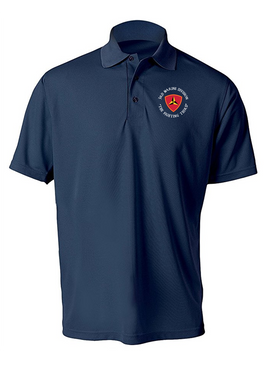 "3rd Marine Division ""Fighting Third""-C-  Embroidered Moisture Wick Polo Shirt"