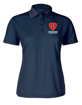 "3rd Marine Division ""Fighting Third"" Ladies Embroidered Moisture Wick Polo Shirt"