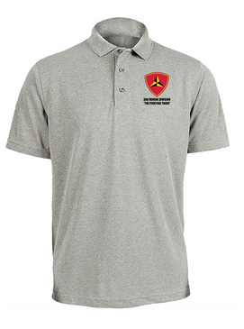 "3rd Marine Division ""Fighting Third"" Embroidered Moisture Wick Polo Shirt"