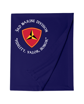 "3rd Marine Division ""Honor""-C-    Embroidered Dryblend Stadium Blanket"