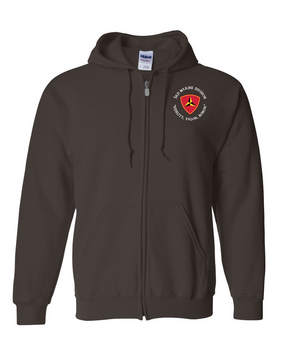 "3rd Marine Division ""Honor""-C-  Embroidered Hooded Sweatshirt with Zipper"
