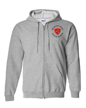 "3rd Marine Division ""Vietnam""-C-  Embroidered Hooded Sweatshirt with Zipper"