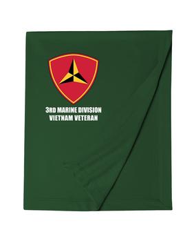 """3rd Marine Division """"Vietnam""""  Embroidered Dryblend Stadium Blanket"""