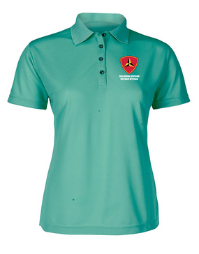 "3rd Marine Division ""Vietnam"" Ladies Embroidered Moisture Wick Polo Shirt"