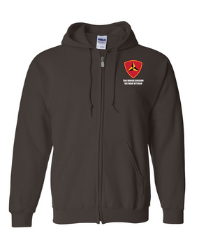"3rd Marine Division ""Vietnam"" Embroidered Hooded Sweatshirt with Zipper"