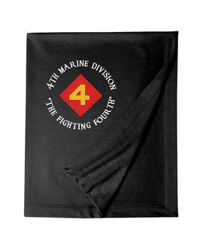"4th Marine Division ""Mighty Fourth""-C-   Embroidered Dryblend Stadium Blanket"