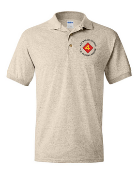 "4th Marine Division ""Fighting Fourth""-C-  Embroidered Cotton Polo Shirt"