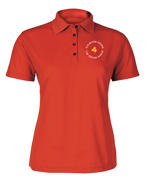 "4th Marine Division ""Fighting Fourth""-C-  Ladies Embroidered Moisture Wick Polo Shirt"