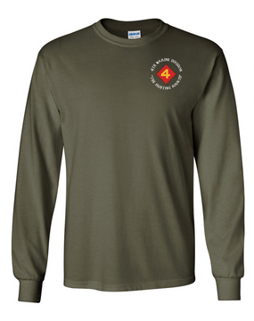 "4th Marine Division ""Fighting Fourth""-C-  Long-Sleeve Cotton T-Shirt"