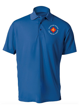 "4th Marine Division ""Fighting Fourth"" Embroidered Moisture Wick Polo Shirt"