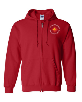 "4th Marine Division ""Fighting Fourth""-C-  Embroidered Hooded Sweatshirt with Zipper"