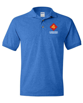 "4th Marine Division ""Fighting Fourth""  Embroidered Cotton Polo Shirt"