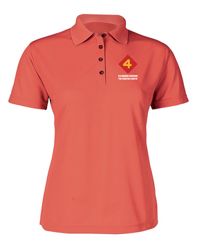 "4th Marine Division ""Fighting Fourth"" Ladies Embroidered Moisture Wick Polo Shirt"