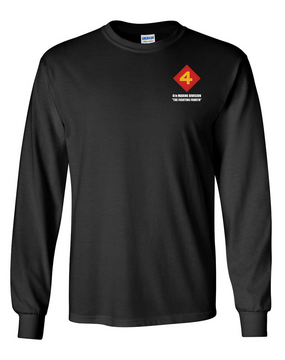 "4th Marine Division ""Fighting Fourth""  Long-Sleeve Cotton T-Shirt"