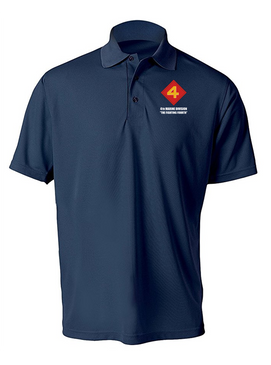 "4th Marine Division ""Fighting Fourth""-(L) Embroidered Moisture Wick Polo Shirt"