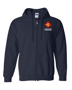 "4th Marine Division ""Fighting Fourth""  Embroidered Hooded Sweatshirt with Zipper"