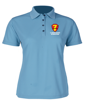 "7th Marine Regiment ""Vietnam"" Ladies Embroidered Moisture Wick Polo Shirt"