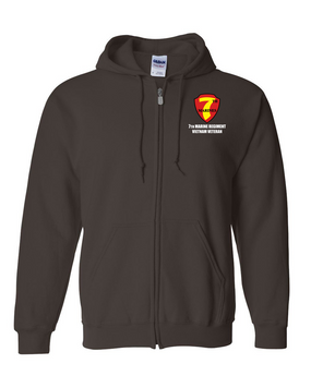 "7th Marine Regiment ""Vietnam"" Embroidered Hooded Sweatshirt with Zipper"