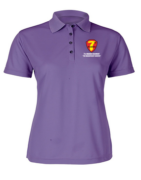 7th Marine Regiment Ladies Embroidered Moisture Wick Polo Shirt