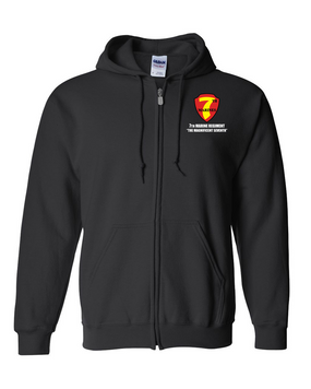 7th Marine Regiment Embroidered Hooded Sweatshirt with Zipper