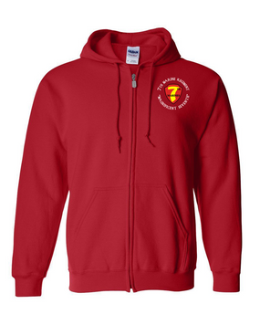 7th Marine Regiment-C- Embroidered Hooded Sweatshirt with Zipper