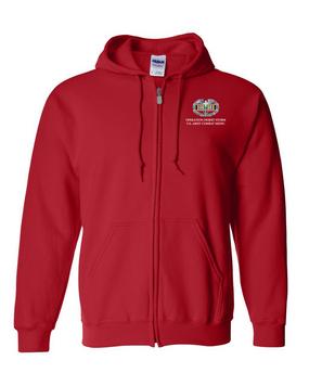 Desert Storm Combat Medical Badge Embroidered Hooded Sweatshirt with Zipper