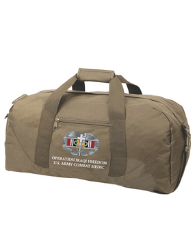 Operation Iraqi Freedom  Combat Medical Badge Embroidered Duffel Bag