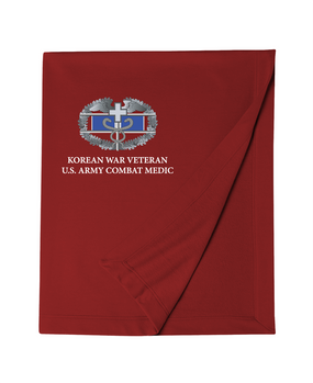 Korean Conflict Combat Medical Badge Embroidered Dryblend Stadium Blanket