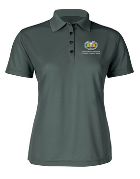Vietnam Combat Medical Badge Ladies Embroidered Moisture Wick Polo Shirt