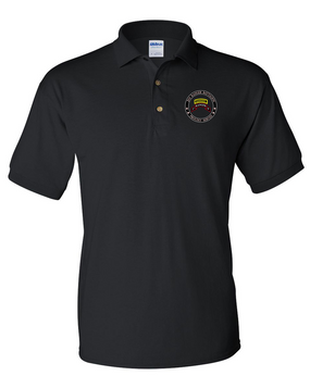 """2-75th Ranger Battalion-Tab- """"Proudly Served"""" Embroidered Cotton Polo Shirt"""