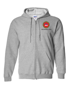 VII Corps Embroidered Hooded Sweatshirt with Zipper