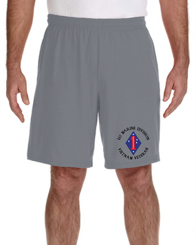 1st Marine Division Vietnam  Embroidered Gym Shorts