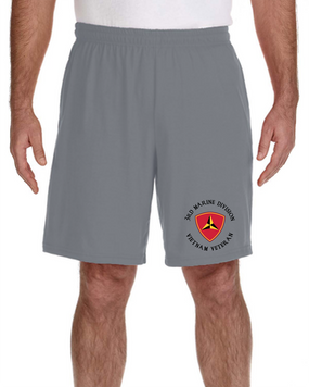 3rd Marine Division Vietnam Veteran Embroidered Gym Shorts