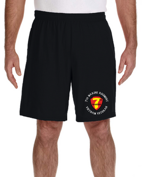 7th Marine Regiment Vietnam Veteran Embroidered Gym Shorts