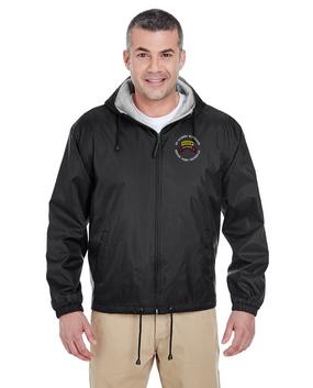 1-75th Ranger Battalion-Tab Embroidered Fleece-Lined Hooded Jacket
