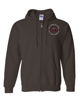2-75th Ranger Battalion-Original Scroll Embroidered Hooded Sweatshirt with Zipper