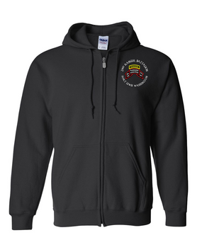 2-75th Ranger Battalion-Original Scroll-Tab Embroidered Hooded Sweatshirt with Zipper
