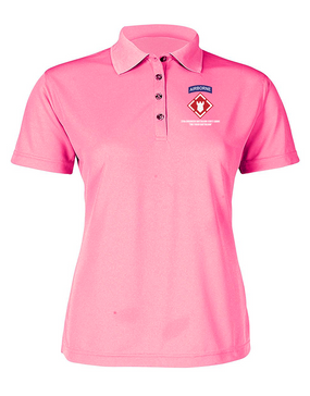 27th Engineer Battalion Ladies Embroidered Moisture Wick Polo Shirt