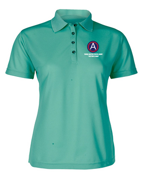 "3rd Army ""Patton's Own"" Ladies Embroidered Moisture Wick Polo Shirt  (L)"