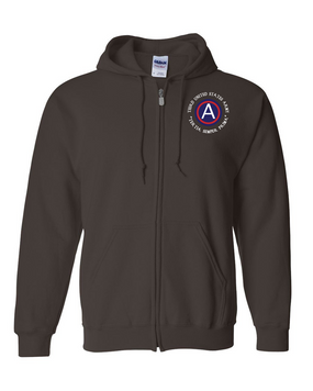 3rd Army  Embroidered Hooded Sweatshirt with Zipper