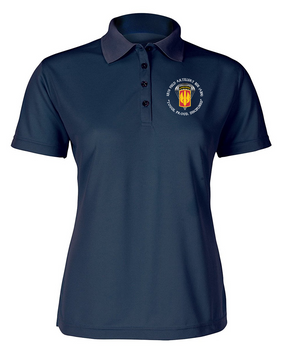 18th Field Artillery (Airborne) Ladies Embroidered Moisture Wick Polo Shirt  (PRD)