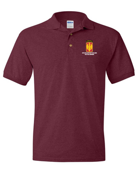 18th Field Artillery (Airborne) Embroidered Cotton Polo Shirt (STEEL)