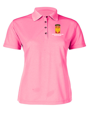 18th Field Artillery (Airborne) Ladies Embroidered Moisture Wick Polo Shirt  (STEEL)