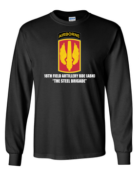 18th Field Artillery (Airborne) Long-Sleeve Cotton T-Shirt (STEEL)(FF)