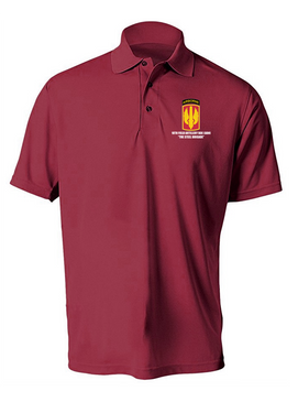 18th Field Artillery (Airborne) Embroidered Moisture Wick Polo Shirt (STEEL)