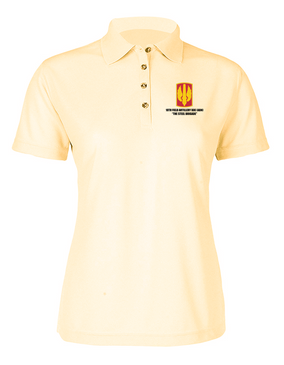 18th Field Artillery Ladies Embroidered Moisture Wick Polo Shirt  (STEEL)