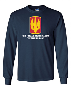 18th Field Artillery Long-Sleeve Cotton T-Shirt (STEEL)(FF)